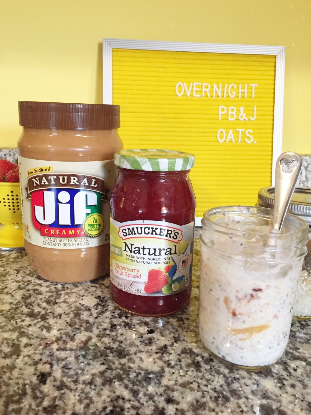overnight PB&J oats with Jif and Smuckers