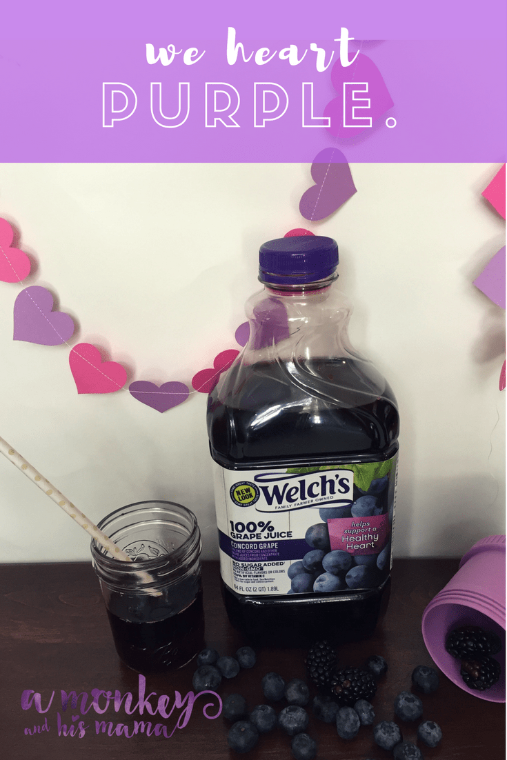 celebrating American Hearth Month with Welch's 100% Grape Juice a monkey and his mama