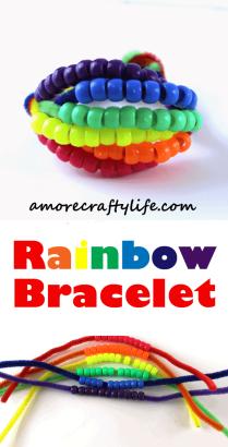 rainbow bracelet kid crafts - arts and crafts activities -rainbow kid craft- amorecraftylife.com #kidscraft #craftsforkids #rainbow #preschool