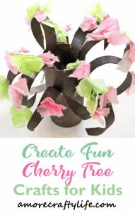 cherry blossom paper roll tree Craft- easy spring kid craft  - amorecraftylife.com #kidscrafts #craftsforkids #preschool