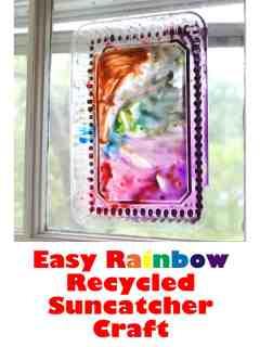 recycled lid suncatcher rainbow crafts - crafts for kids- kid crafts - acraftylife.com #preschool #kidscraft #craftsforkids