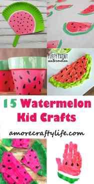watermelon kid craft - summer kid crafts- crafts for kids - amorecraftylife.com