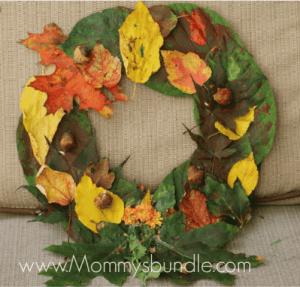 leaf wreath kid crafts - harvest kid crafts - fall kid crafts- crafts for kids - morecraftylife.com
