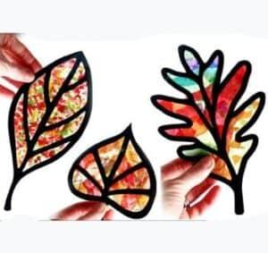 leaf kid crafts - harvest kid crafts - fall kid crafts- crafts for kids - morecraftylife.com