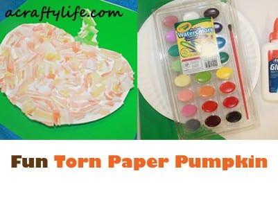 torn paper pumpkin kid craft- fall kid craft - craft for kids amorecraftylife.com