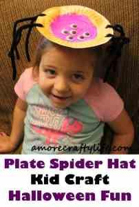 plate spider kid craft - halloween kid craft -amorecraftylife.com #kidscraft #craftsforkids #preschool