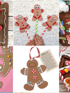 gingerbread kid crafts - christmas kid craft - arts and crafts activities - amorecraftylife.com #kidscraft #craftsforkids #christmas #preschool