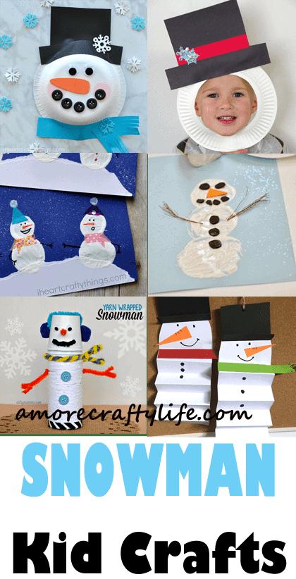 snowman kid crafts - arts and crafts activities -winter kid craft- amorecraftylife.com #kidscraft #craftsforkids #winter #preschool