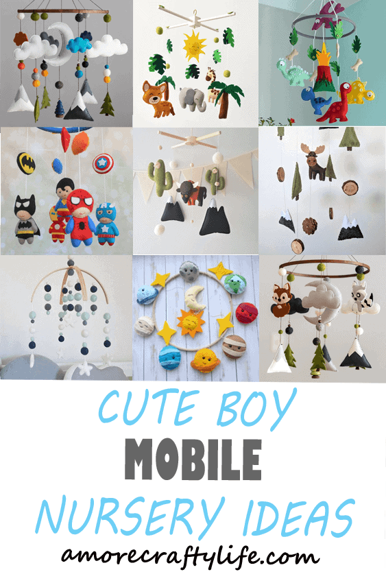 boy mobile nursery ideas- boy nursery theme - woodland nursery - amorecraftylife.com #baby #nursery #babygift #babyboyl