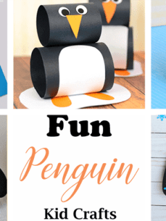 penguin kid crafts - arts and crafts activities -winter kid craft- amorecraftylife.com #kidscraft #craftsforkids #winter #preschool