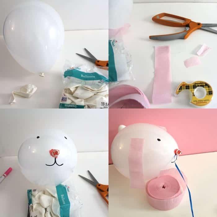 balloon bunny kid crafts - easter kid crafts - arts and crafts activities -spring kid craft- amorecraftylife.com #kidscraft #craftsforkids #easter #preschool