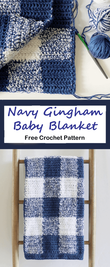 navy gingham baby blanket crochet pattern - amorecraftylife.com #baby #crochet #crochetpattern #freecrochetpattern