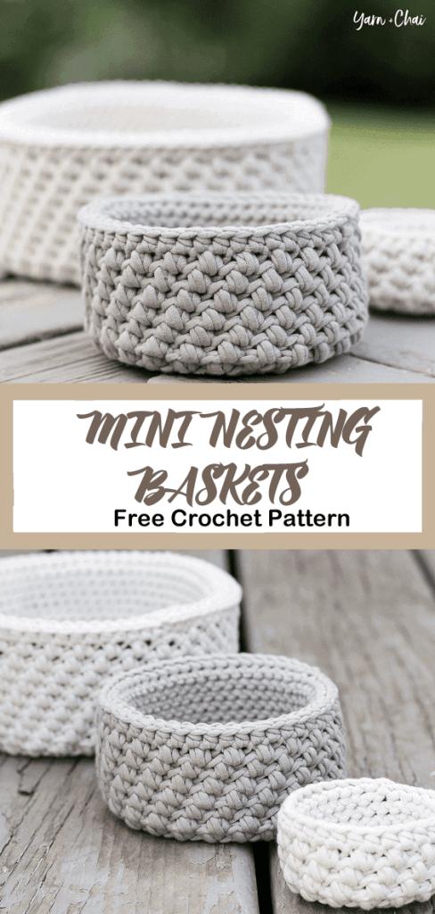 Baskets Free Crochet Pattern- amorecraftylife.com #crochet #crochetpattern #freecrochetpattern