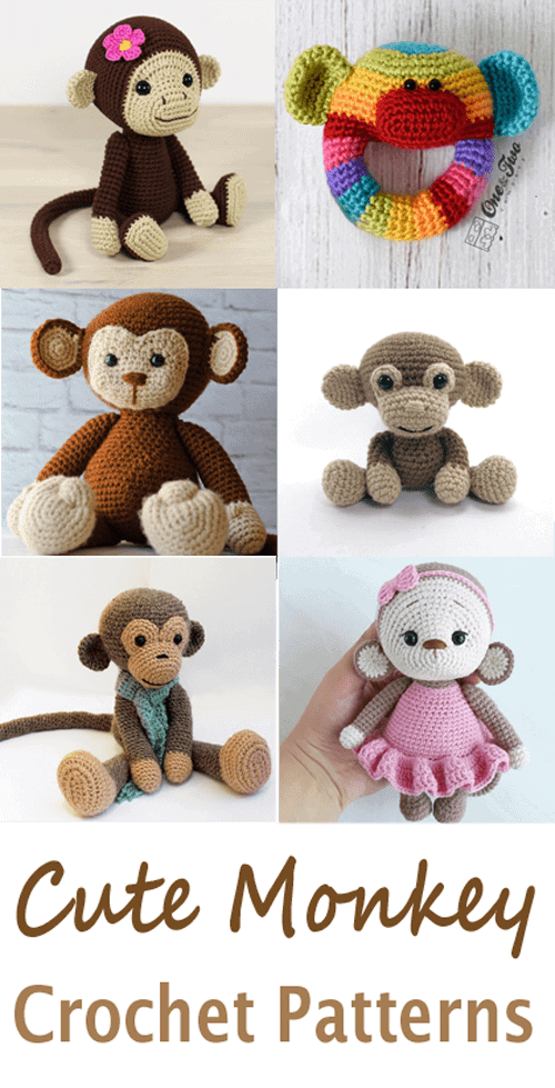 monkey crochet patterns- toy crochet pattern- amigurumi amorecraftylife.com #crochet #crochetpattern #diy