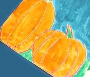watercolor pumpkin kid crafts- fall kid craft - autumn kid craft - amorecraftylife.com #kidscrafts #craftsforkids #preschool #fall