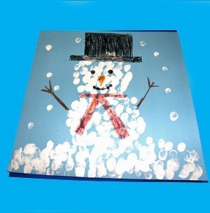 fingerprint snowman kid craft - winter kid craft- winter preschool craft -kingergarten - toddler - amorecraftylife.com #kidscraft #craftsforkids #winter #preschool