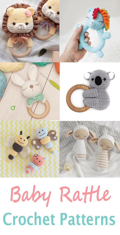 crochet baby rattle Patterns - Cute Gifts - A More Crafty Life - amigurumi #crochet #crochetpattern #baby