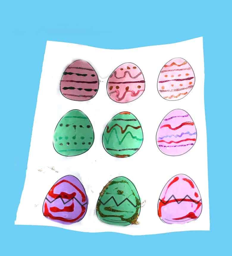 printable glitter Easter egg kid crafts - crafts for kids - spring craft for kids -amorecraftylife.com #kidscraft #craftsforkids #preschool