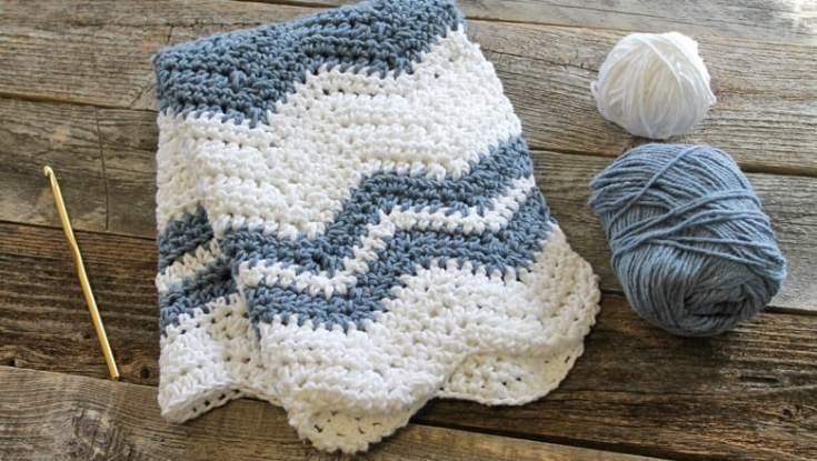 Blue Wave Dishtowel Crochet Pattern Ripple A More Crafty Life
