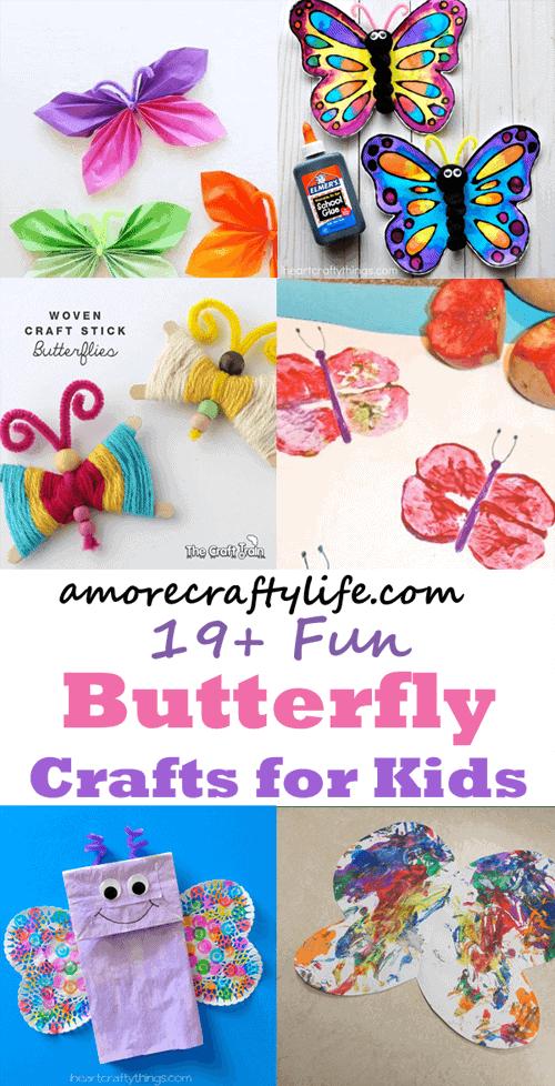 Make fun butterfly kid craft - spring kid craft - bug arts and crafts - amorecraftylife.com #kidscraft #craftsforkids #preschool