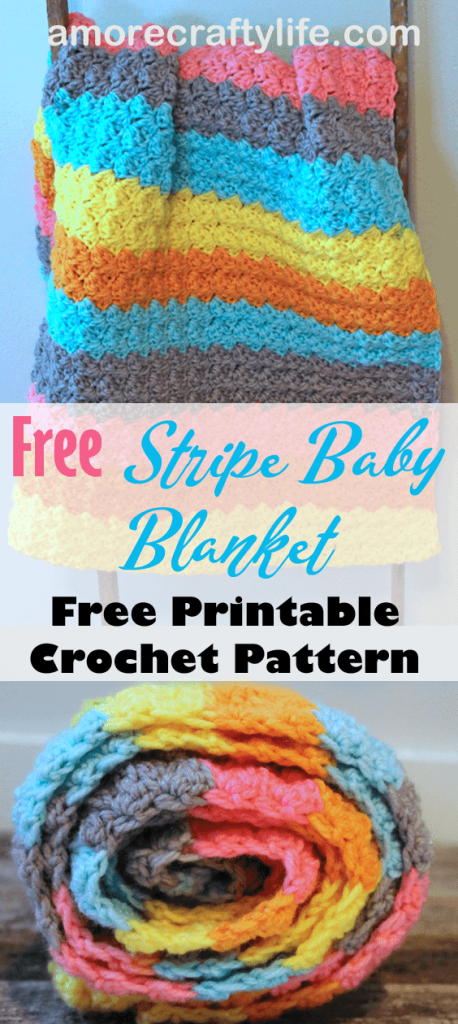 Make an easy and colorful baby blanket with Bernat Pop worsted weight yarn. colorful stripe crochet-baby-blanket-pattern- free printable pdf #crochet #crochetpattern #baby #freecrochetpattern