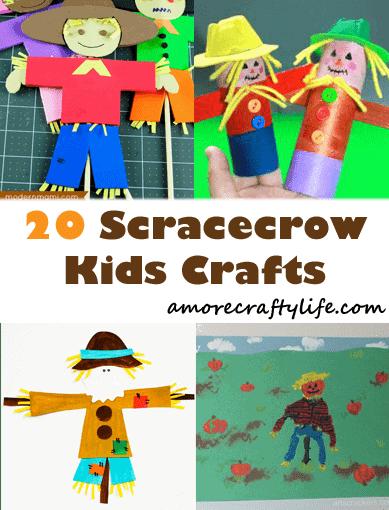 scarecrow kid crafts- fall kid craft - activities recipes math reading books amorecraftylife.com #kidscrafts #craftsforkids #preschool