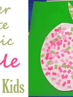 mosaic apple kid craft- amorecraftylife.com - fall kid craft - craft for kids #craftsforkids #preschool #kidscrafts #apples