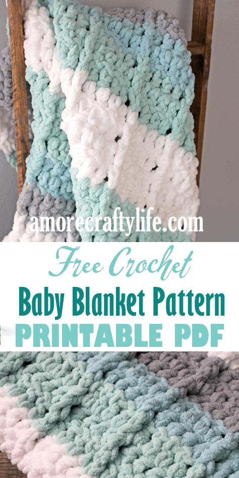 easy seafoam stripe crochet baby blanket free pattern - amorecraftylife.com -bernat blanket yarn - baby afghan - free printable crochet pattern - bernat blanket yarn #baby #crochet #crochetpattern #freecrochetpattern