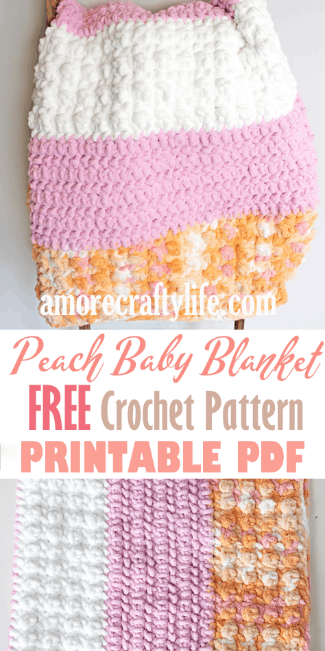 peachy crochet baby blanket free pattern - super bulky chenille yarn - amorecraftylife.com -bernat blanket yarn - baby afghan - free printable crochet pattern - bernat blanket yarn #baby #crochet #crochetpattern #freecrochetpattern
