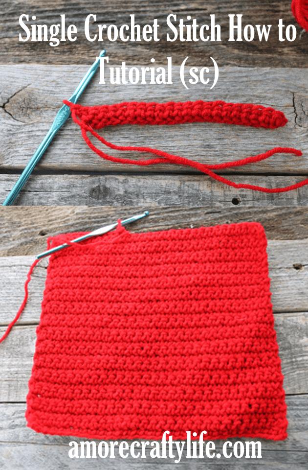 learn to do the single crochet stich (sc)  -how to crochet beginner crochet tutorials - amorecraftylife.com