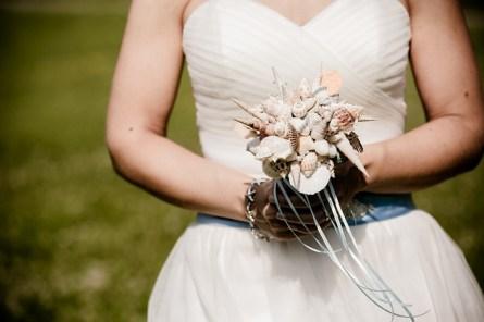 wedding bouquet made with seashells