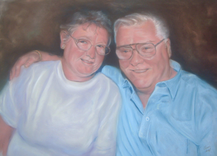Couple commission portrait by fife artist Christopher Amos (amosartworks)