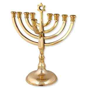 gold-plated chanukah menorah with jewish star
