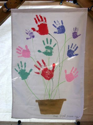 children's handprint as sukkah decoration