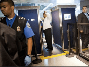 Typical airport security