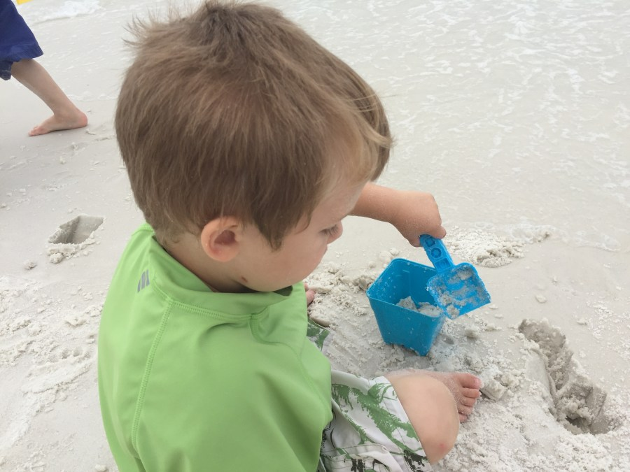 This sums up what my three year old did most of the time on the beach--he loved it!