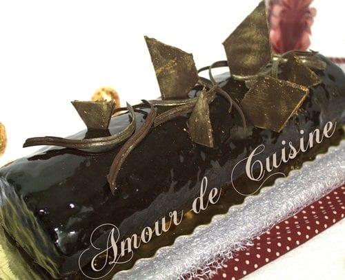 recette genoise buche chocolat de noel ou reveillon au glacage miroir au chocolat