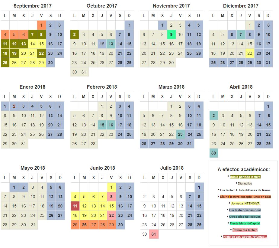 Calendario lectivo 2017-2018