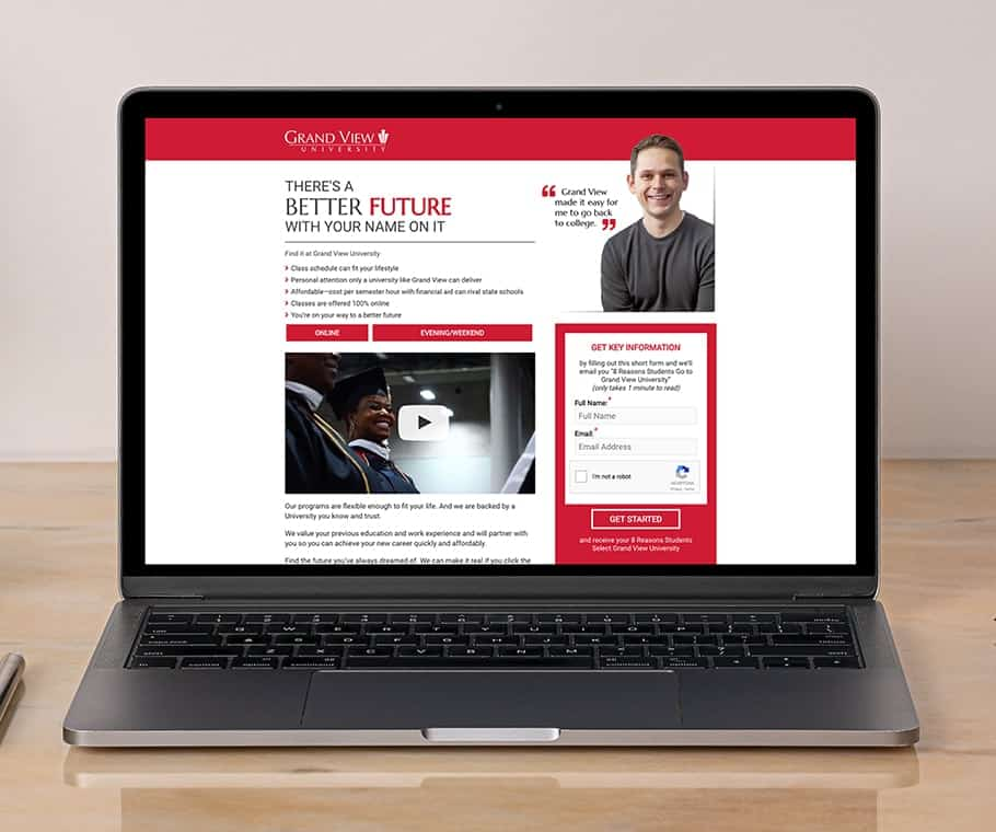 Grand View University Landing Page