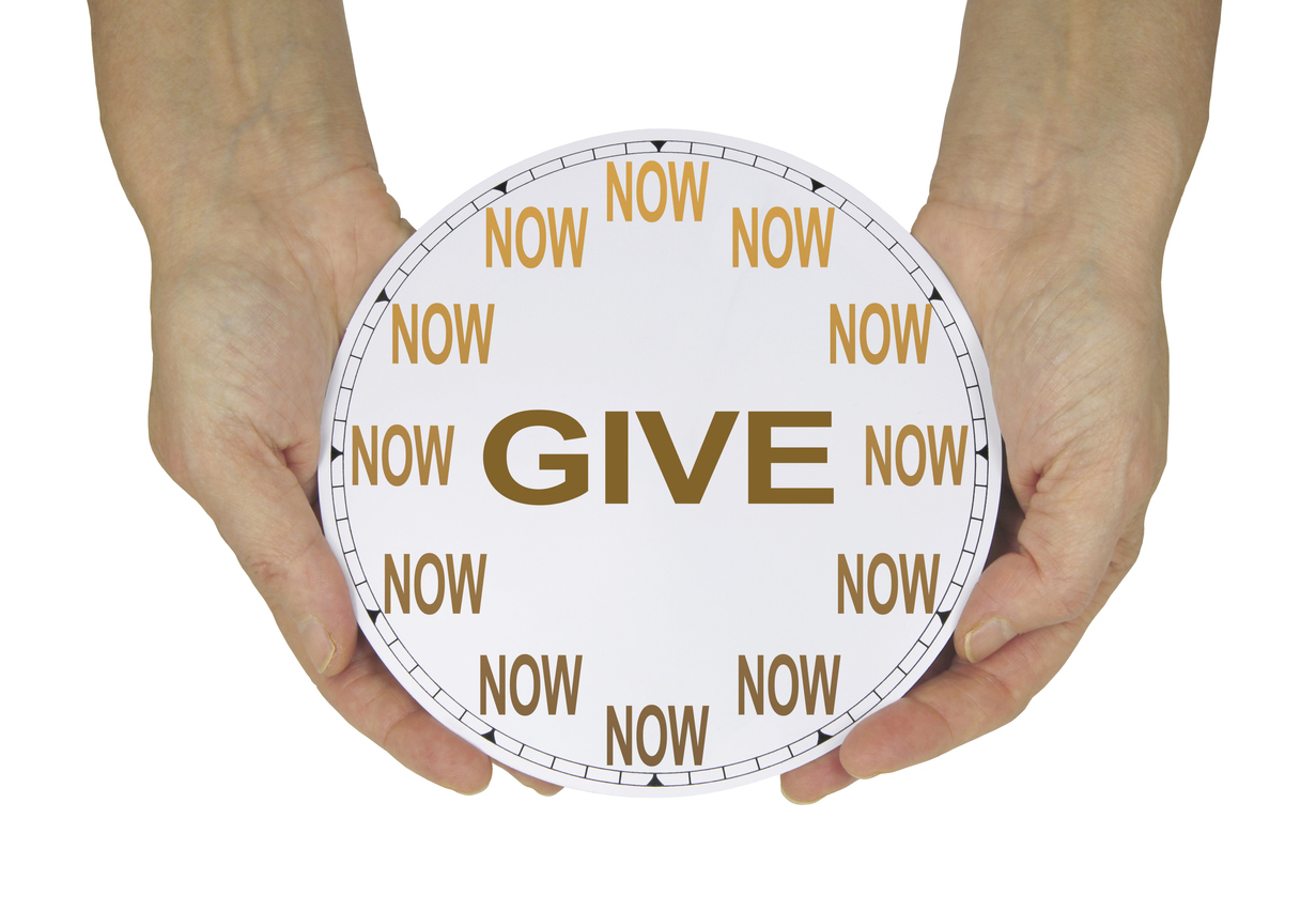 Don't stop nonprofit fundraising message with give now clock