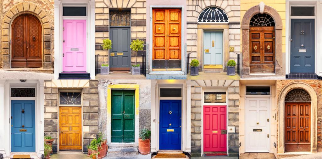 Mixture of European doors in different styles