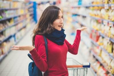 Portrait of woman in supermarket