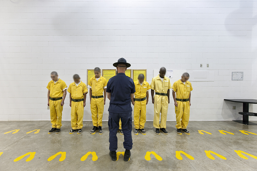 Richard Ross' photo of young men in a correctional facility in Colorado. Photo courtesy of Richard Ross and Hammer Museum