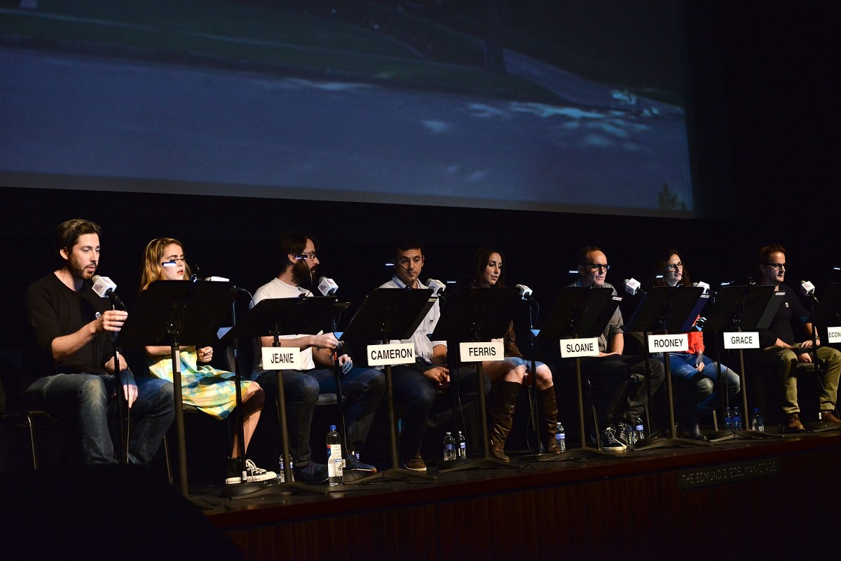 Jason Reitman, Mae Whitman, Martin Starr, Fred Savage, Catherine Reitman, Clark Gregg, Michaela Watkins and Richard Speight, Jr. perform at the Film Independent Live Read: Ferris Bueller's Day Off at Bing Theatre At LACMA on October 15, 2015 in Los Angeles, California. Courtesy of Film Independent and Wireimage