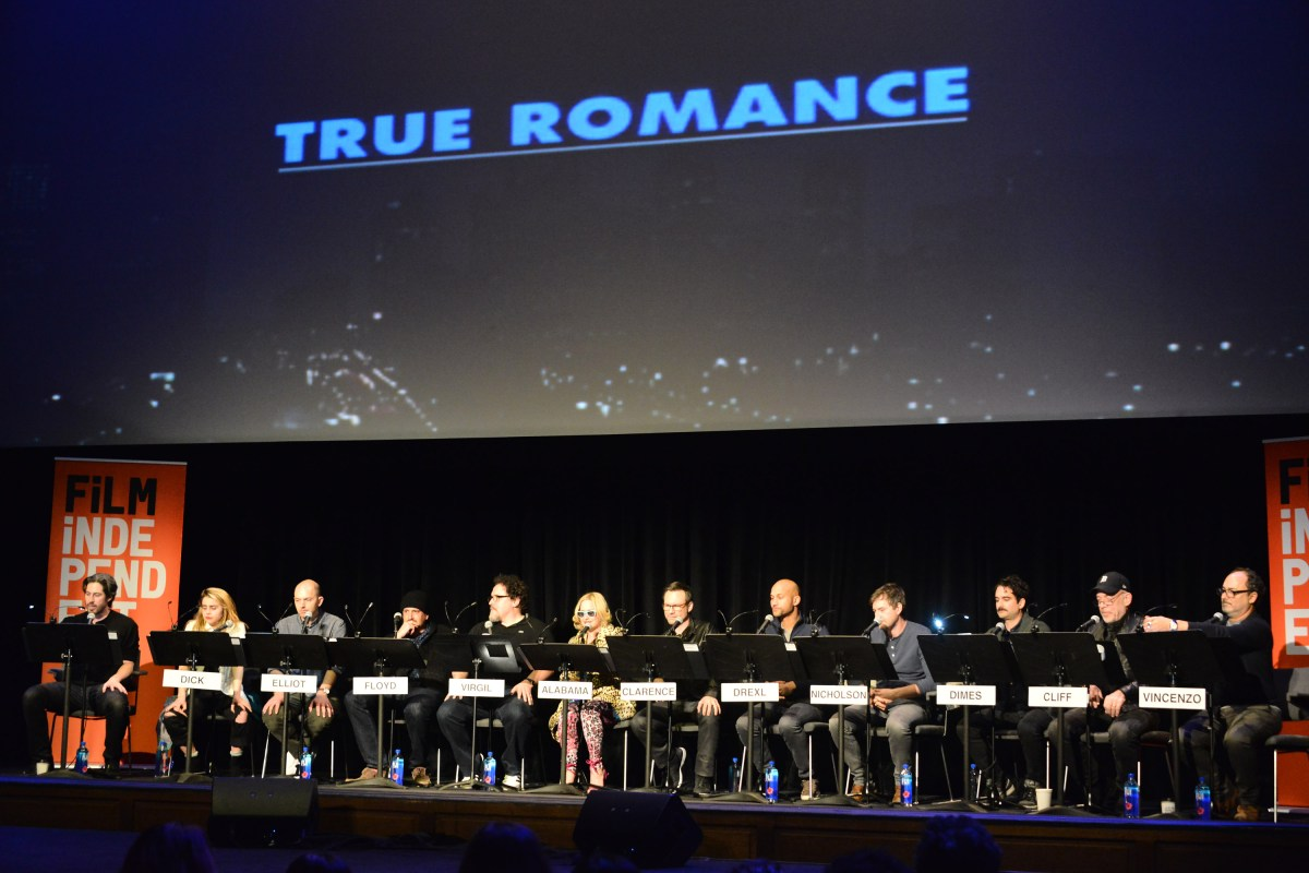 "Jason Reitman, Mae Whitman, Paul Scheer, Jason Segel, Jon Favreau, Patricia Arquette, Christian Slater, Keegan-Michael Key, Mark Duplass, Jay Duplass, J.K. Simmons and Kevin Pollak attend the Film Independent Live Read of ""True Romance"" at Ace Theater Downtown LA on December 16, 2015 in Los Angeles, California. (Photo by Araya Diaz/WireImage)"