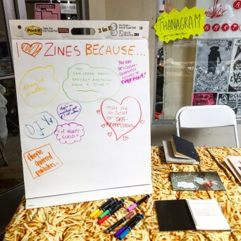 The Thanagram Press table from Zine Queens, 2016.