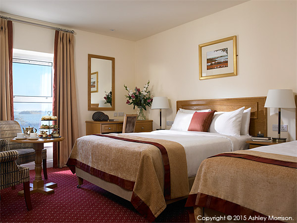 The Lakeview twin bedroom at the Hodson Bay Hotel.