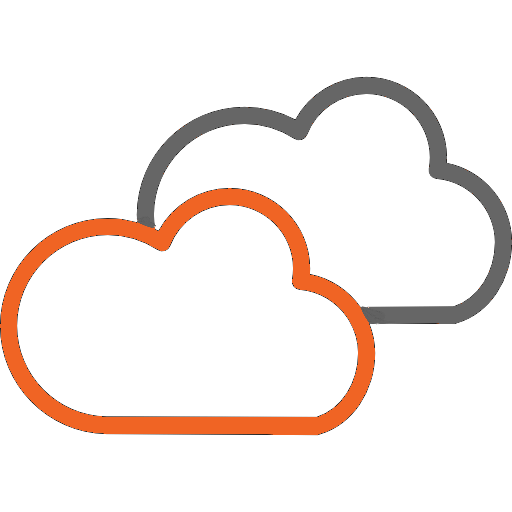 Orange and Gray cloud outlines