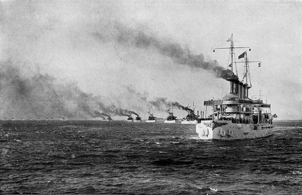 The USS Connecticut leads the Great White Fleet out of Hampton Roads, Virginia in 1907.