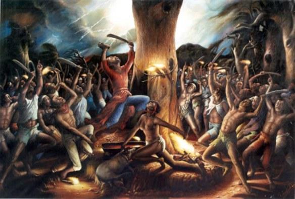 Artistic rendering of Haitian voodoo ceremony.